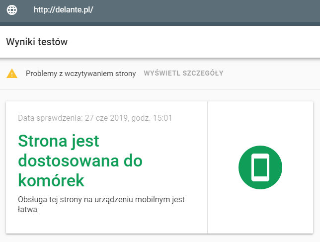 Mobile first indexing test mobilny