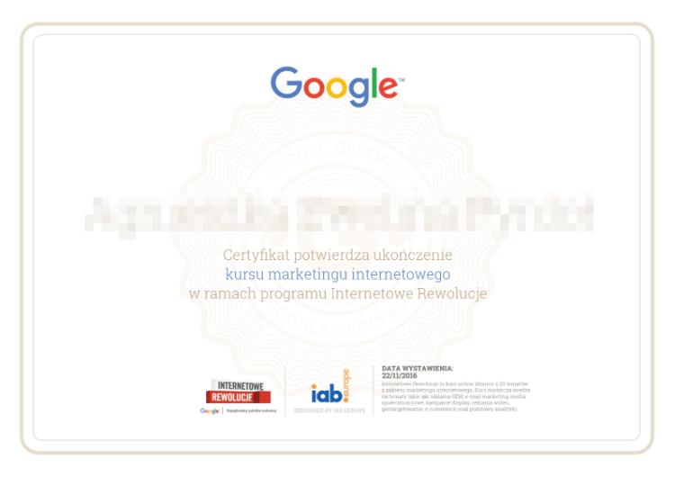 Internetowe Rewolucje Certyfikat