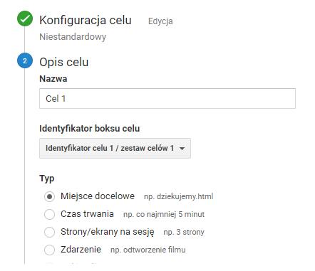 Cele w Google Analytics - miejsce docelowe
