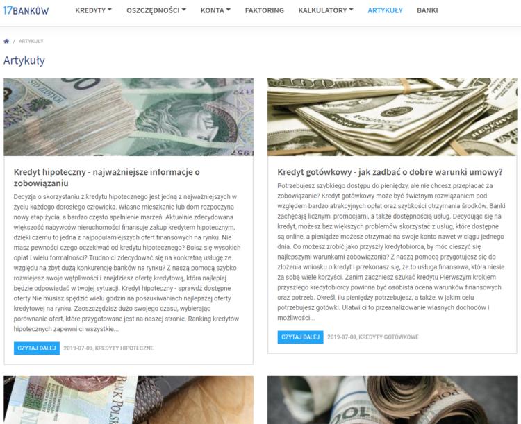 Branża finansowa SEO - content marketing