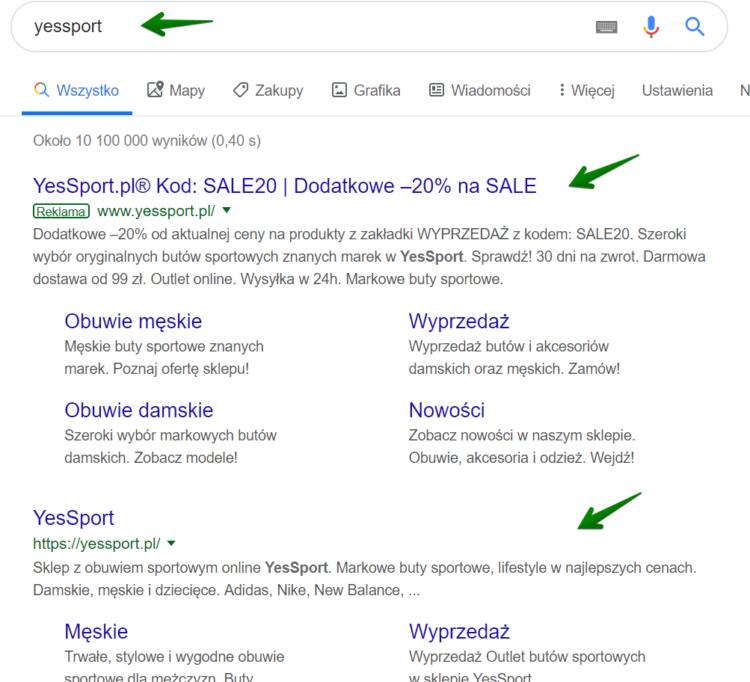 Brand SEO - Yessport w wynikach wyszukiwania