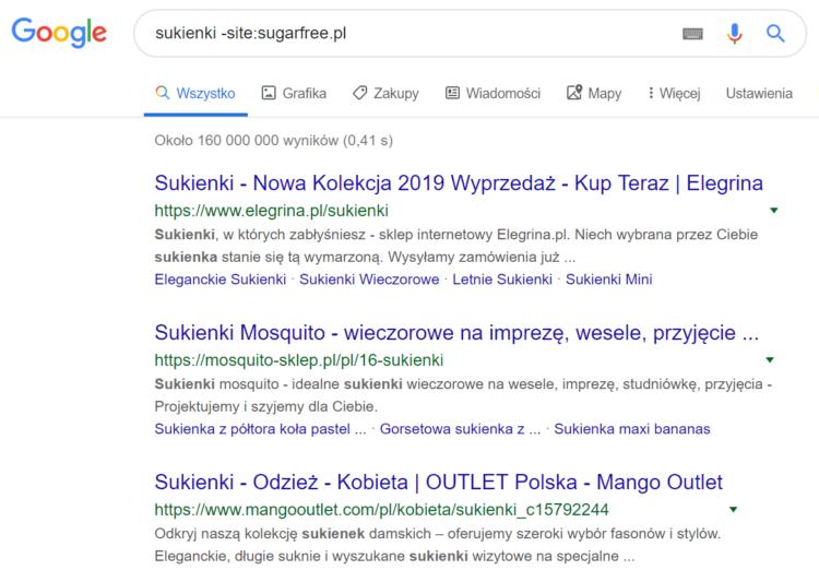 Triki wyszukiwania w Google - wyniki wyszukiwania bez niechcianej strony