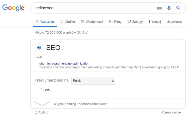 Triki wyszukiwania w Google - pożądana definicja w wyszukiwaniach