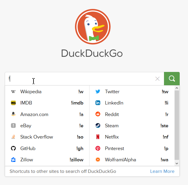 Alternatives for Google Duckduckgo Bang!