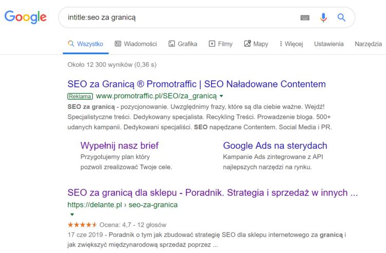 Triki wyszukiwania w Google - pożądana fraza w tytule
