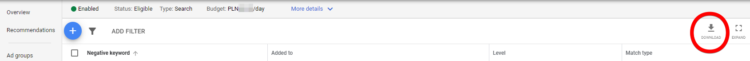 Downloading keywords