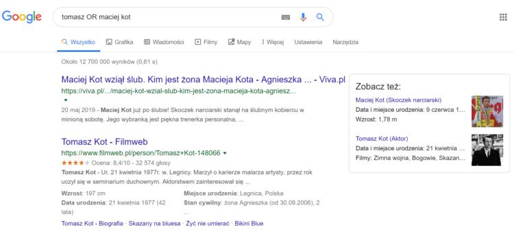 Sztuczki Google - spójnik OR w wyszukiwaniu