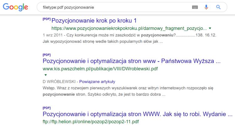 Triki wyszukiwania w Google - wyszukiwanie formatu pdf