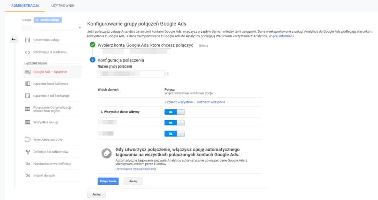 Połączenie z Google Analytics przełączanie konta