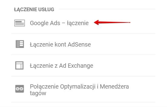 Połączenie z Google Analytics łączenie usług