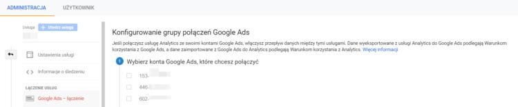 Połączenie z Google Analytics nowa grupa połączeń