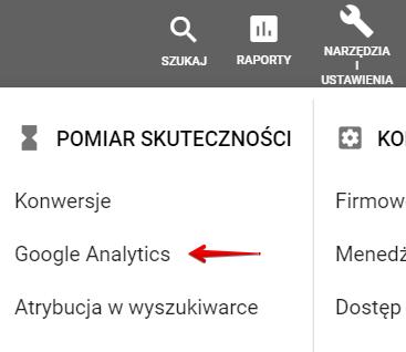 Połaczenie z Google Analytics z poziomu Analytics