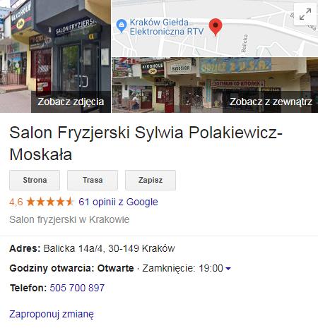 Google Moja Firma - pozycjonowanie branży kosmetycznej