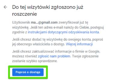 Prośba o dostęp do wizytówki w Google Moja Firma
