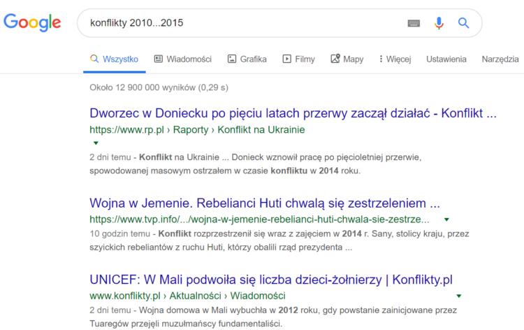 Triki wyszukiwania w Google - ramy czasowe w wyszukiwaniach