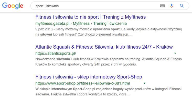 Triki wyszukiwania w Google - synonimy w wyszukiwaniach
