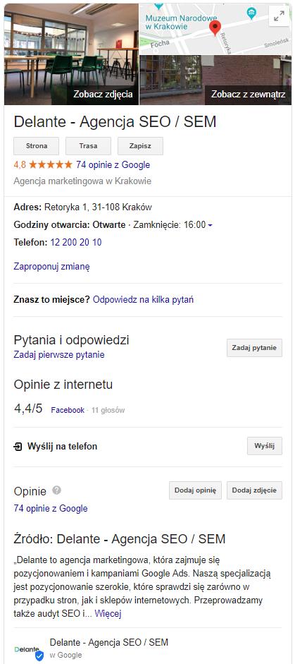 Wizytówka Delante Google Moja Firma