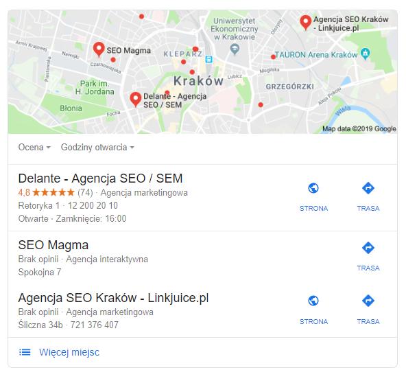 Wyniki wyszukiwania w google maps GMF