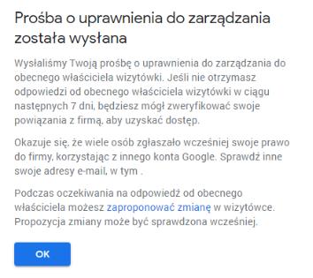 Zgłoszenie dostępu do wizytówki w Google Moja Firma