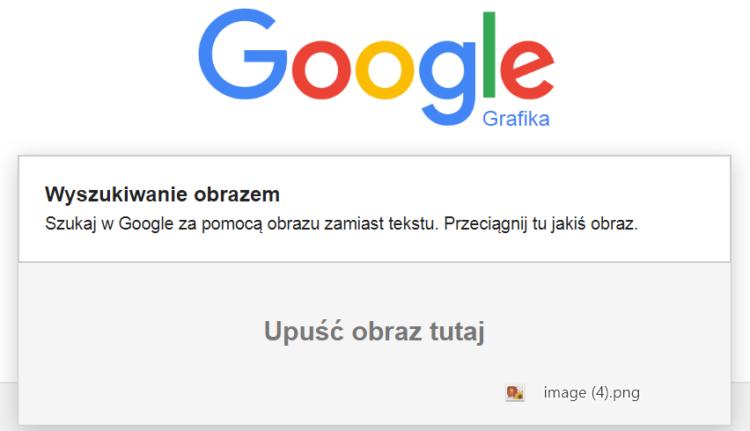 Wyszukiwanie obrazem w Google Grafika - drag and drop