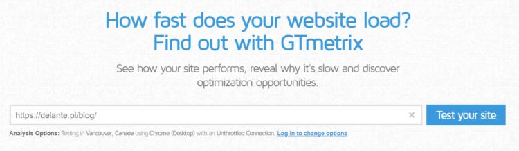 GTmetrix - jak przyspieszyć ładowanie strony na urządzeniach mobilnych