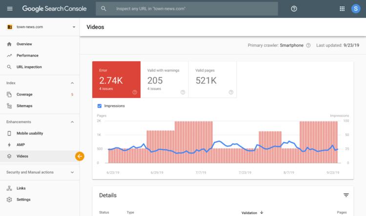 Search Console - raporty poszerzone o pliki wideo