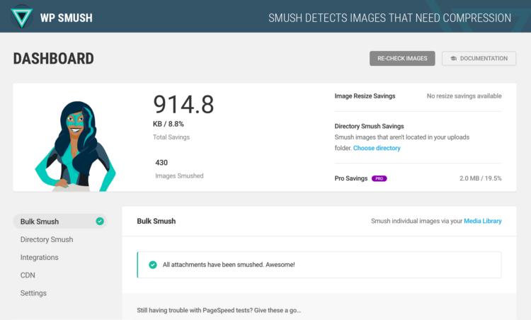 WP Smush - prędkość ładowania strony urządzenia mobilne