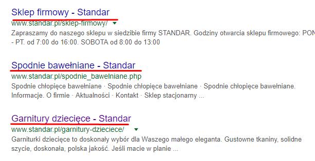 Tytuły stron Standar