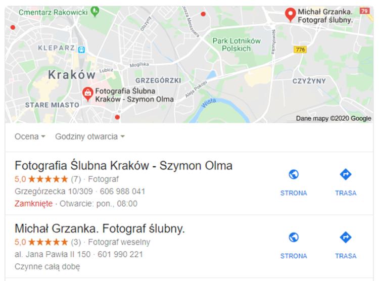 Google moja firma branża ślubna