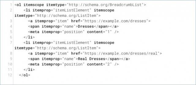 schema breadcrumbs markup