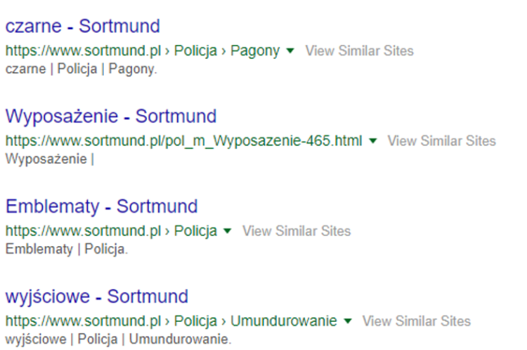 Category names in serp