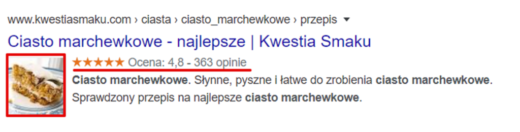 Wygląd Rich Snippet w wyszukiwarce Google