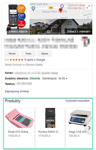 Google Moja Firma produkty