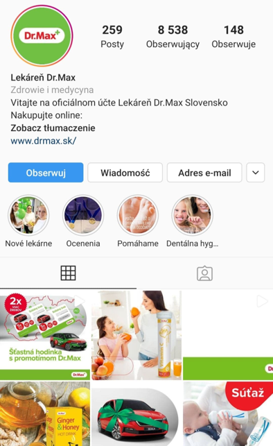 Instagram branża farmaceutyczna