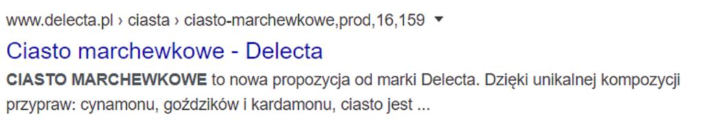 Standardowy wynik wyszukiwania Google