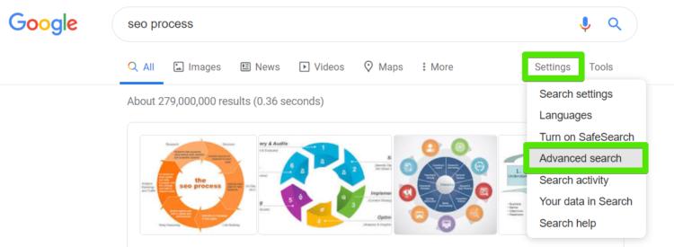 Advanced search in Google