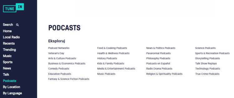 Podcast categories
