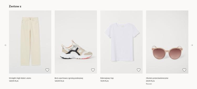 Produkty proponowane w karcie produktu w e-commerce
