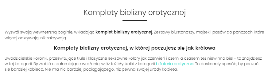 category text example - zmysły