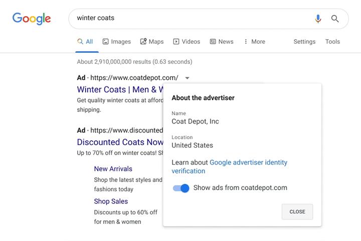 Weryfikacja reklamodawców informacje