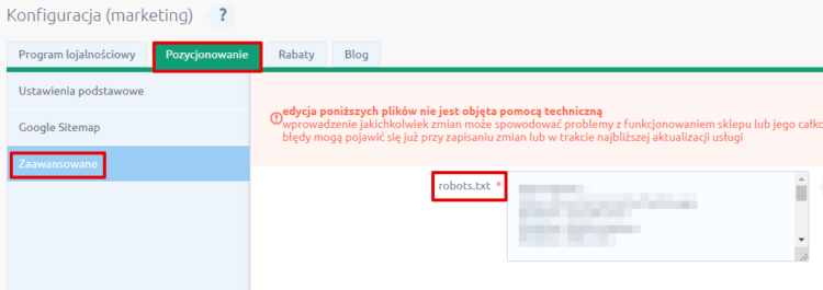 Edycja pliku robots.txt na platformie Shoper