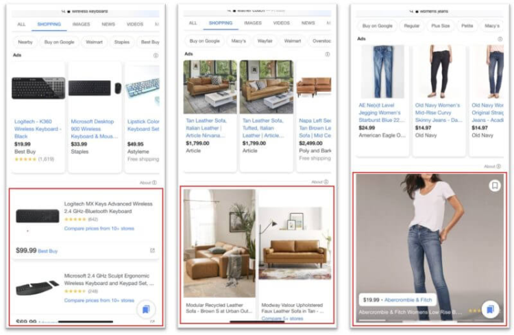 Formaty reklam w Google Zakupy