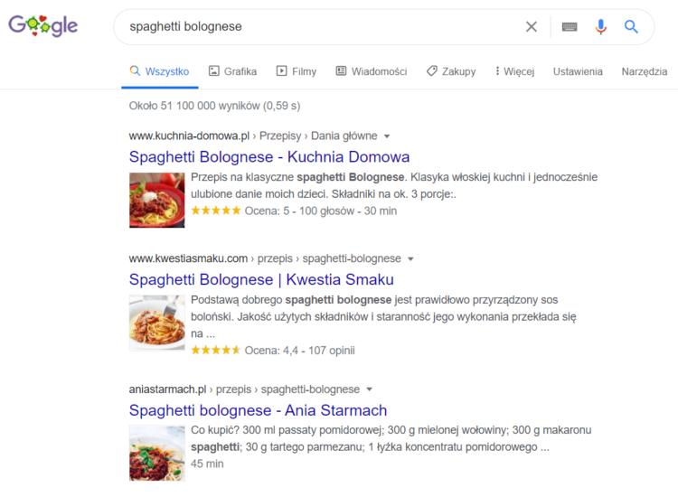 Search Intent SEO - wyniki wyszukiwania