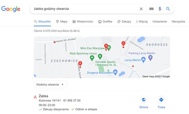 seo search intent przykład