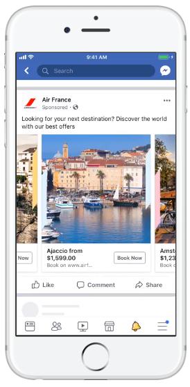 Specyfikacja reklam Facebook - karuzela