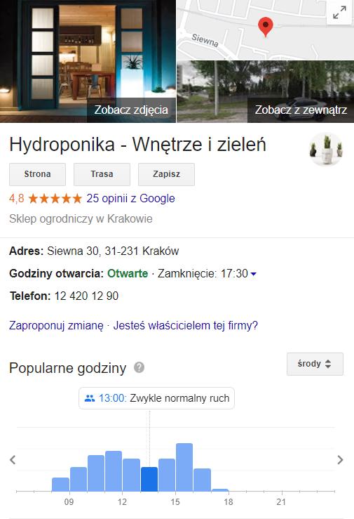 Wizytówka w Google Moja Firma - branża ogrodnicza