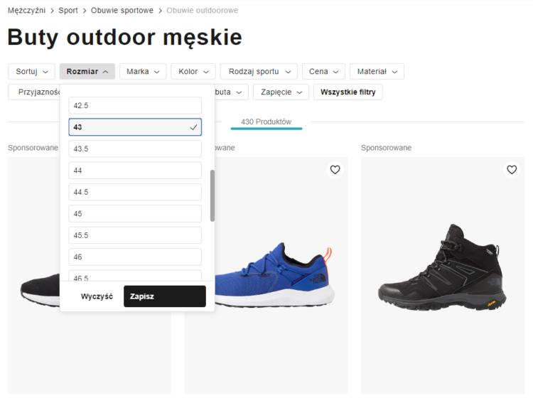 Filtrowanie produktów w e-commerce - Zalando