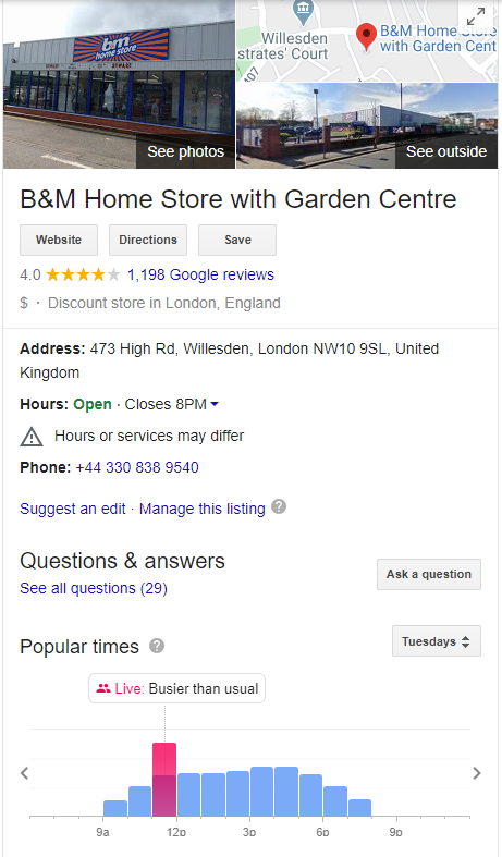 an example of google my business profile for garden center