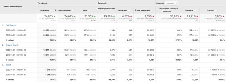 Google Analytics - raport SEO