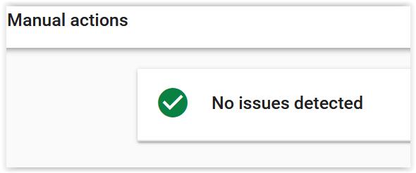 Google Search Console ręczne działania